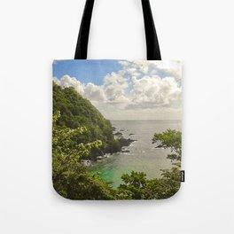 Mountain view of Caribbean Sea Tote Bag