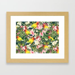 Parrots in rose garden Framed Art Print