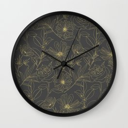Simple garden flowers gold outlines design Wall Clock