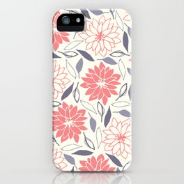 Coral and Gray Floral Pattern iPhone Case