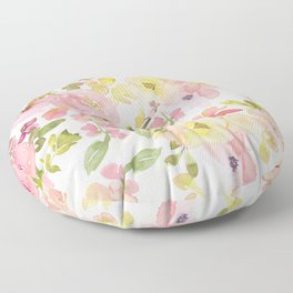 Scandi Peach Summer Hand Drawn Watercolor Flowers Meadow Floor Pillow