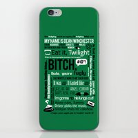 dean winchester iPhone & iPod Skins featuring Supernatural - Dean Winchester Quotes by natabraska
