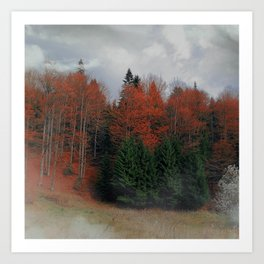 October Forest Red Green Art Print