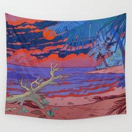 Orange Moon Wall Tapestry