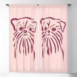 Brussels Griffon (Pink and Burgundy) Blackout Curtain