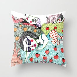 Ladies in Apple Trees Throw Pillow