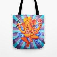 ganesh Tote Bags featuring Ganesh by brianbatista