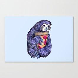 purple sloth loves pizza Canvas Print