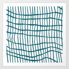 Net Blue on White Art Print