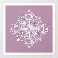 Shovelflake 6: Scarf + Mittens Art Print