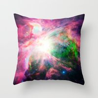 nebula Throw Pillows featuring Orion NebuLA Colorful Purple by 2sweet4words Designs