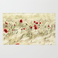 poem Area & Throw Rugs featuring A POPPY  POEM by Stephanie Koehl