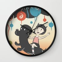 cartoons Wall Clocks featuring Hurricane! by Miggy Borja