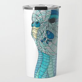 'Stained Glass Budgie' Ombre Blue Line work Geometric Illustrated Budgie Travel Mug
