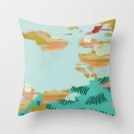 Seafoam Fern Collage Throw Pillow