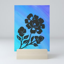 Rose Silhouette with Painted Blue Background Mini Art Print