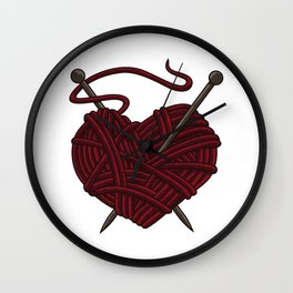I Love Knitting | Wool Needle Heart Sewing Craft Wall Clock