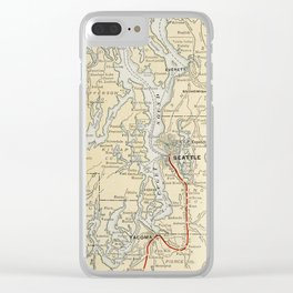 Vintage Map of The Puget Sound (1909) Clear iPhone Case