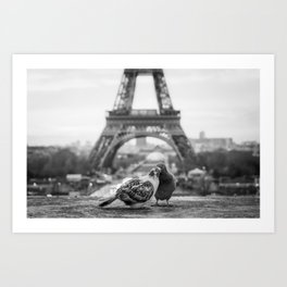 Love Birds (Black and White) Art Print