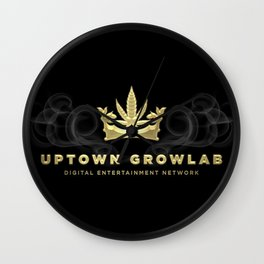 Uptown Growlab Gold Cannabis Crown and Script Wordmark Wall Clock
