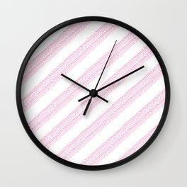 Girly neon pink hand drawn watercolor geometrical chevron Wall Clock