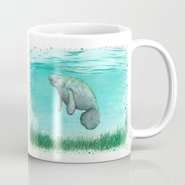 """""""Mossy Manatee"""" by Amber Marine ~ Watercolor & Ink Painting, (Copyright 2016) Coffee Mug"""