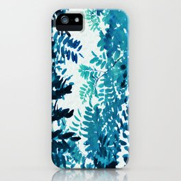 Blue Frond Leaves on Graphic Textured White Background iPhone Case