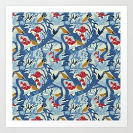North American Forest Pattern (Blues) Art Print