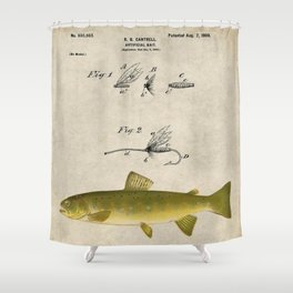 Vintage Brown Trout Fly Fishing Lure Patent Game Fish Identification Chart Shower Curtain