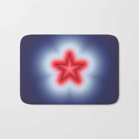 Red White and Blue Star Bath Mat