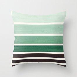 Deep Green Minimalist Watercolor Mid Century Staggered Stripes Rothko Color Block Geometric Art Throw Pillow