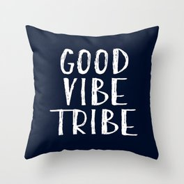 Good Vibe Tribe - Navy Blue and White Throw Pillow