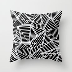 Ab lines Zoom Black and Silver Throw Pillow