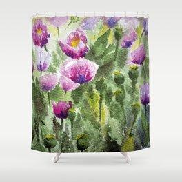 Oriental Poppies Field Shower Curtain