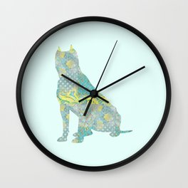 American Staffordshire Dog Vintage Floral Pattern Teal Yellow Grey Silver Shabby Chic Wall Clock
