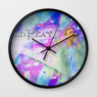 coldplay Wall Clocks featuring Chris Martin-Coldplay-Digital Impressionism by Sophie Grace
