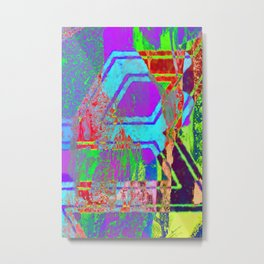 Neon Abstract Vaporwave Metal Print