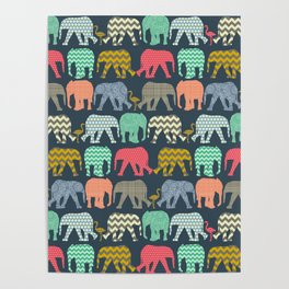 baby elephants and flamingos Poster