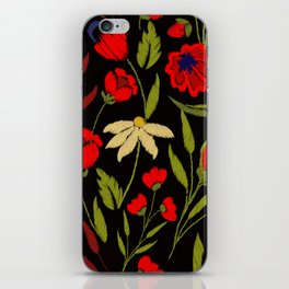 Floral embroidery iPhone Skin