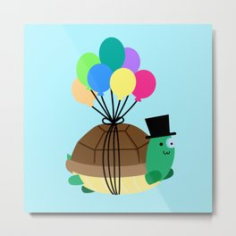 Flying Turtle Metal Print