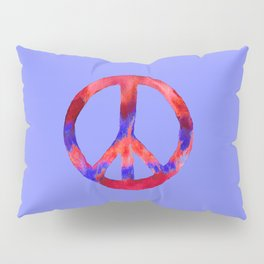 Patriotic Peace Sign Tie Dye Watercolor on Blue Pillow Sham