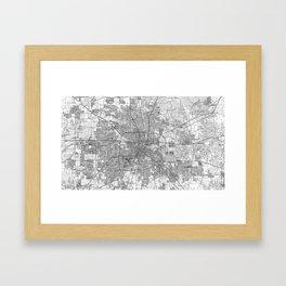 Houston Texas Map (1992) BW Framed Art Print