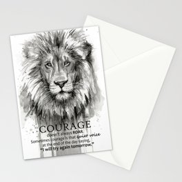 Lion Courage Motivational Quote Watercolor Painting Stationery Cards