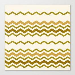 Golden Glitter Chevron Pattern on Lace Color Background Canvas Print
