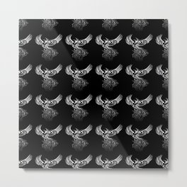 Rising From The Ashes Phoenix Black White Ombre Metal Print