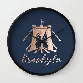 Rosegold on Navy Brooklyn Bridge Wall Clock
