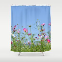 Colorful Cosmos Blue Sky Shower Curtain