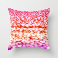 glitter Throw Pillows featuring Sunset Glitter Sparkles by WhimsyRomance&Fun