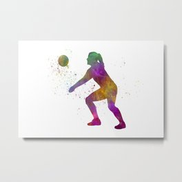 Young man practices beach volleyball in watercolor 01 Metal Print