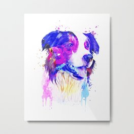 Border Collie watercolor, Watercolor Border Collie, Watercolor dog, Border Collie portrait Metal Print